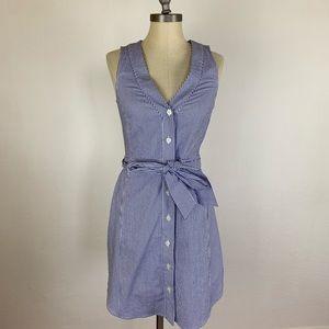 RACHEL Rachel Roy Dresses - Rachel Roy Blue Stripe Tie Waist Shirt Dress
